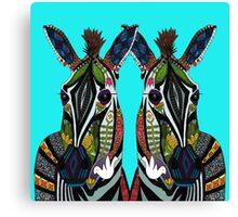 zebra love turquoise Canvas Print