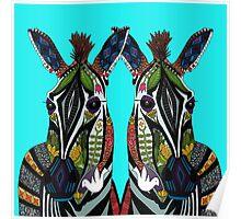 zebra love turquoise Poster