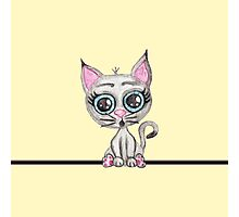 Cute Pink and Gray Watercolor Kitty Cat on Yellow Photographic Print