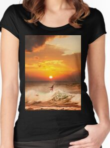 Sunset Surfing Women's Fitted Scoop T-Shirt