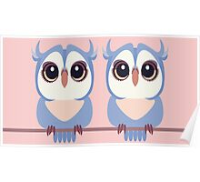 TWIN BLUE OWLETS Poster