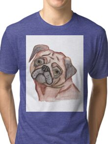 Cute Hand Painted Black Brown Watercolor Pug Dog Tri-blend T-Shirt
