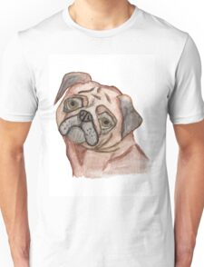 Cute Hand Painted Black Brown Watercolor Pug Dog Unisex T-Shirt