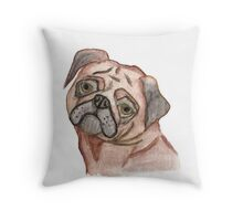 Cute Hand Painted Black Brown Watercolor Pug Dog Throw Pillow