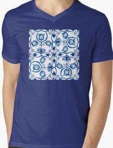 Delft Blue Tulips Mens V-Neck T-Shirt