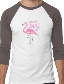 Crazy Flamingo lady Men's Baseball ¾ T-Shirt