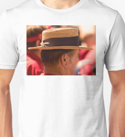 Hat Series - Man Wearing a Straw Hat with a Large Brown Band Unisex T-Shirt
