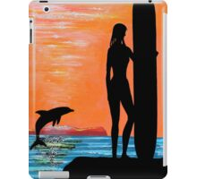 SURFER GIRL WITH DOLPHIN iPad Case/Skin