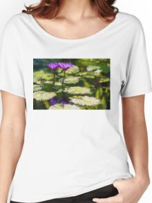 Waterlilies Impressions – Purple Duo Shimmer Women's Relaxed Fit T-Shirt