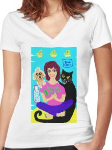 Yoga Ferny & cat Vito Rico Women's Fitted V-Neck T-Shirt