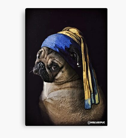 PUG WITH PEARL EARRING Canvas Print