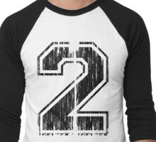 Bold Distressed Sports Number 2 Men's Baseball ¾ T-Shirt