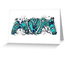 Mom (Mum) Coloured Aussie Tangle 2 Transparent Background Greeting Card