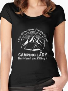 Camping Lady supper sexy Women's Fitted Scoop T-Shirt