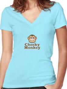 Cheeky Monkey - Funny Toon Face Sticker Women's Fitted V-Neck T-Shirt
