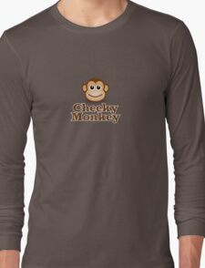 Cheeky Monkey - Funny Toon Face Sticker Long Sleeve T-Shirt