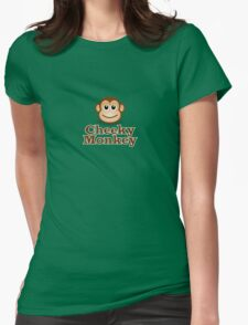 Cheeky Monkey - Funny Toon Face Sticker Womens Fitted T-Shirt