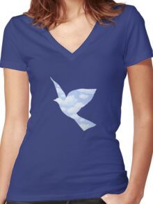 In the style of Magritte Women's Fitted V-Neck T-Shirt