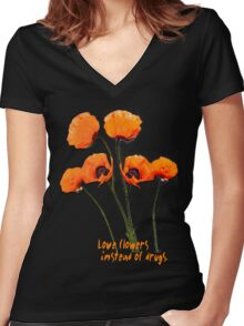 Oriental Poppies  Women's Fitted V-Neck T-Shirt