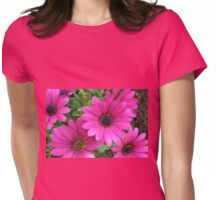 Vibrant Pink Cape Daisies and Bud Womens Fitted T-Shirt