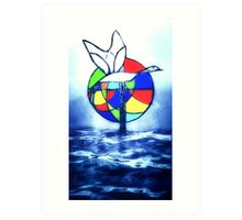 Stained glass goose Art Print