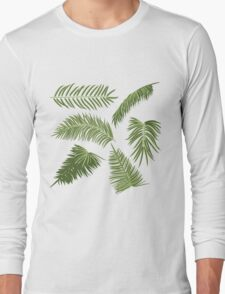 Green Palm Leaves Long Sleeve T-Shirt