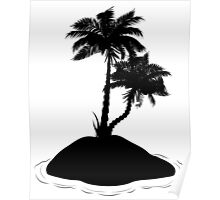 Palm Tree on Island Silhouette Poster