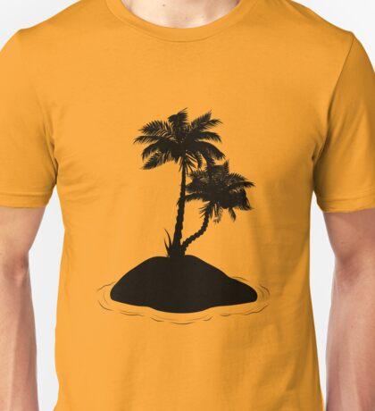 Palm Tree on Island Silhouette Unisex T-Shirt