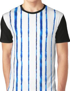 Watercolor blue stripes pattern Graphic T-Shirt