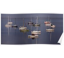 Boat Reflection - Geelong Poster