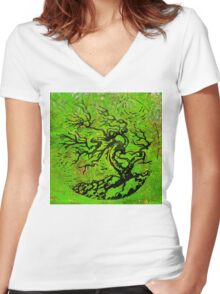 Old and Ancient Tree - Leaf Green  Women's Fitted V-Neck T-Shirt