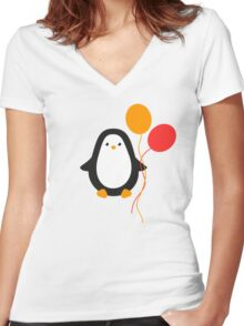 Penguin with balloons Women's Fitted V-Neck T-Shirt