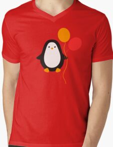 Penguin with balloons Mens V-Neck T-Shirt