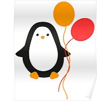 Penguin with balloons Poster