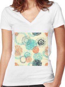 abstract seamless pattern Women's Fitted V-Neck T-Shirt