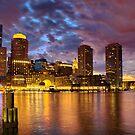 Sun dusk over Boston Harbor  by LudaNayvelt