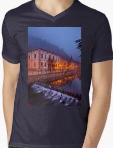 Foggy night falling in Florina Mens V-Neck T-Shirt