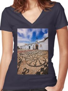 Pebbled mosaic in Tinos island Women's Fitted V-Neck T-Shirt