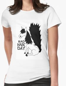 Bad Hair Day Horse Womens Fitted T-Shirt