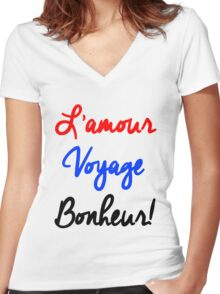 EXO - L'Amour Voyage Bonheur Women's Fitted V-Neck T-Shirt