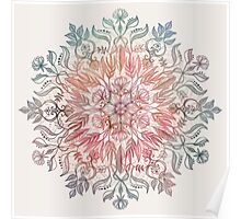 Autumn Spice Mandala in Coral, Cream and Rose Poster