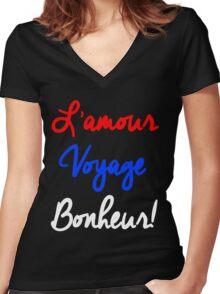 EXO - L'Amour Voyage Bonheur Women's Fitted V-Neck T-Shirt