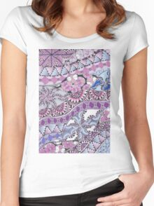 Zentangle Inspired Art Pink, Purple and Blue Women's Fitted Scoop T-Shirt