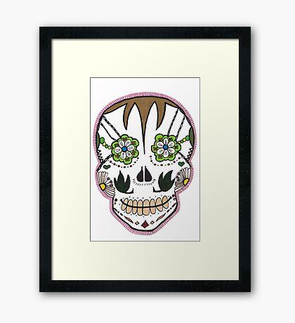 """Sugar Skull """"Pink Frame"""" Framed Print"""