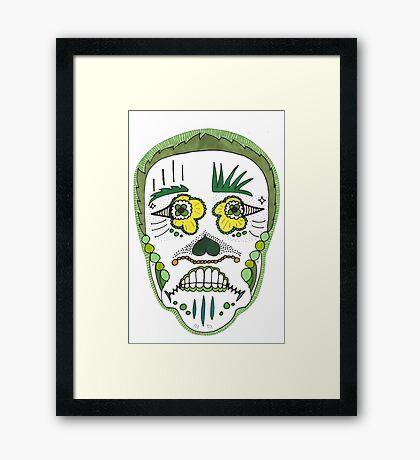 """Sugar Skull """"Green Frame"""" Framed Print"""