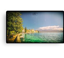 Hotels on the lake Garda Canvas Print