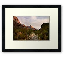 Virgin River and The Watchman at sunset. Framed Print