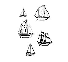 Sail Ships (pixelated) Photographic Print
