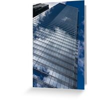 Reflected Sky - Skyscraper Geometry With Clouds - Right Greeting Card