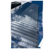 Reflected Sky - Skyscraper Geometry With Clouds - Right Poster